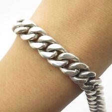 """925 Sterling Silver Thick Heavy Wide Handmade Men's Cuban Link Bracelet 7 1/4"""""""