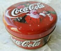 Coca Cola Collectible - DECORATIVE HOLIDAY CANDLE - SANTA TIN w/CHILDREN