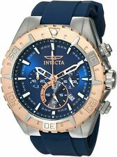 Invicta Men's 49mm Aviator Blue Silicone Band Stainless Quartz Chronograph Watch
