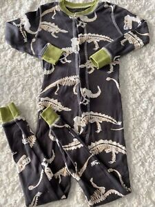Lazy One Boys Gray White Green Dinosaur Skeleton Snug Fit Long Sleeve Pajamas 4T