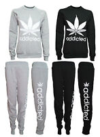New Ladies Womens addicted print Tracksuit Set Sweatshirt & Jogging Bottoms Top