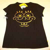 Nickelodeon SpongeBob Face Ladies Black Gold Printed T Shirt Size S New