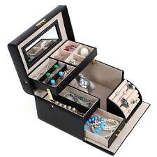 New Leather Black Jewelry Box Makeup Watch Storage Organizer Holder Display Case