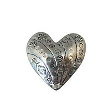 5pcs Tibetan silver crafted heart spacer beads A8555