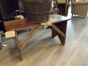 """Antique Primitive Bench Coffee Table Solid Wood Farm House Design 38.75"""" Width"""