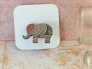 Elephant Wood Brooch, Mini animal brooch, nature gift, wooden jewellery Orange G