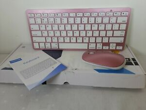 OMOTON Pink wireless Bluetooth Slim Keyboard and Mouse KB066