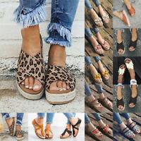 Womens Platform Slippers Flat Sandals Ladies Summer Flip Flops Shoes Size 6-10.5