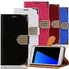 Handy Tasche HTC One M9 M8 M7 Schutz Hülle Glitzer Case Strass Wallet Flip Cover