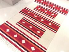 Ethnic Red Cream Handmade Natural Cotton Reversible Washable Rug 120x180cm 40 of