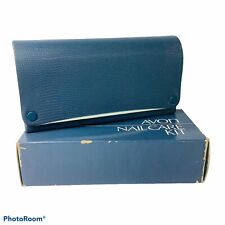 Avon Nail Care Kit Dark Blue Hard Case 1970s Home or Travel Set Complete in Box
