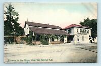 San Gabriel, CA - 1900s HAND COLORED ROADSIDE POSTCARD OF GRAPE VINE ENTRANCE