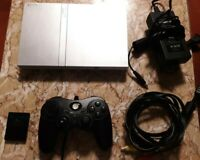 Sony Silver PlayStation 2 Slim Bundle Lot Tested, Controller, and Memory Card
