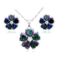 White Gold Filled Flower Design Rainbow Mystic Topaz Necklace And Earrings Set