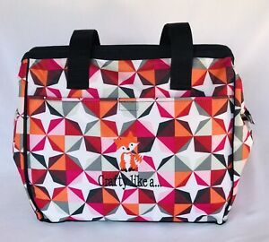 Thirty-One 'Crafty Like A Fox' Embroidered Zippered UnUsed Tote Crafters Bag