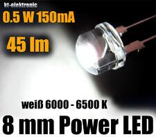 1 Stück Power LED 8mm weiß 0,5W 150mA 45 lm, Kurzkopf Flachkopf Straw Hat