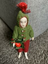 """Antique Boy Elf Doll Germany Jointed Bisque Limbach C. 1900 Dressed 3"""" So Cute !"""
