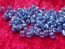 Glasperlen Rocailles 3 mm Blau schimmernd & irisierend 12