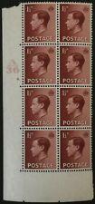 Gb Edward Viii 1936 1 1/2d Cylinder 9. Dot A36 Mint Block 8 Stamps Keviii Eviii