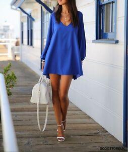 Fashion Casual Dress/Blouse Women Chiffon Deep V-neck Split Sleeves Irregular