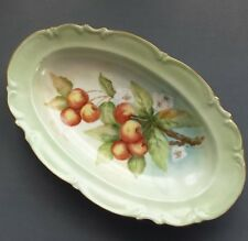 HUTSCHENREUTHER SELB CHINA GREEN FRUIT PLATE BAVARIA GERMANY LHS SYLVIA  RARE!!