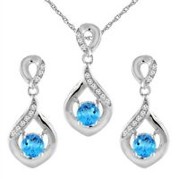 14K White Gold Natural Swiss Blue Topaz Earrings and Pendant Set with Diamond