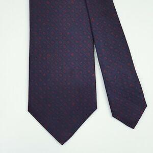 BVLGARI TIE Bulgari Red Letter Dot Dark Blue Check Wide 7 Folds Silk Necktie