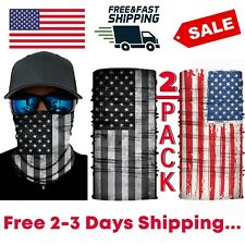 Face Cover Gaiter Unisex Bandana American Flag Headband Cover Tube 2 Pack Sale!