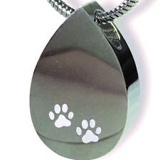Cremation Jewellery - Tear Drop Shaped Pendant with White Paws