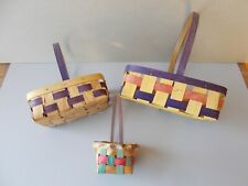 Vtg Lot 3 Small 1950'S Color Stained Woven Splint Easter Baskets 2 Nailed