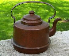Antique 1800's Swedish Copper T-Pot Tea Kettle EGE GEE 1.5 L, Orig Patina