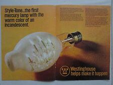 1973 PUB WESTINGHOUSE STYLE TONE MERCURY VAPOR LAMP AMPOULE ORIGINAL AD