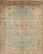 Breathtaking Antique Turquoise Geometric 10x13 Tabriz Persian Oriental Area Rug