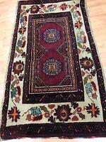 """1'9"""" x 3'1"""" Antique Kurdish Oriental Rug - 1930s - Hand Made - 100% Wool"""