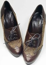 Charlotte Russe pumps Sz 7 B brown herring bone lace up oxford style heel shoes