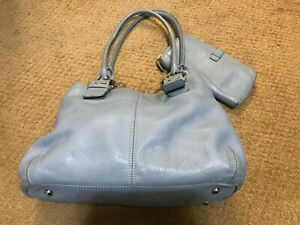 Tignanello Grey Leather Handbag with Buckle Accessories includes Matching Wallet