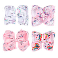 "2 Pcs 5"" Ribbon Hair Bows For Girls Handmade Boutique Bow With Alligator Clip"