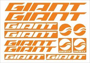 GIANT decals Stickers Bicycle Frame Cycling road bike MTB fork tube orange BMX