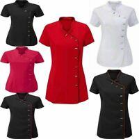 Womens Beauty Salon Tunic Top Uniform Ladies Hairdressing Collar Neck Shirt