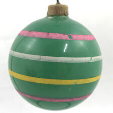 Vintage WWII Era Shiny Brite Unsilvered Paper Cap Green Painted Ornament Striped