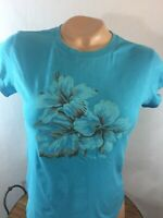 Guess Jeans Blue Floral Juniors Size Large T-Shirt