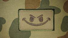 NEW EVIL SMILEY FACE TAN KHAKI TACTICAL MORALE AIRSOFT PATCH AUSTRALIA AU SELLER