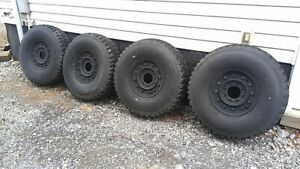 "4 MILITARY HUMVEE TIRES 37"" + 8 LUG 12 BOLT RIMS + RUN FLAT INSERTS - 70% TREAD"