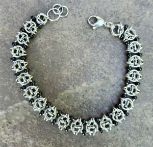 Celtic Visions Chainmaile Bracelet with Black Seed Beads