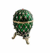 "1.5"" Egg Shape Green Trinket Box Pewter and Enamel Decor Jewelry"