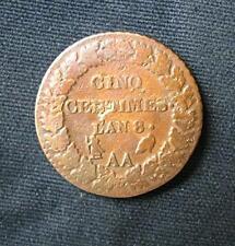 Munt Frankrijk/France: : 5 (Cinq) Centimes L'AN 8 AA