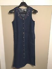 Women's White Stag Denim Blue Sleeveless Button Dress Embroidered Floral Small