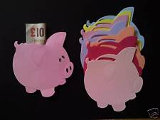 Piggy Bank die cuts. For money gift Birthday cards