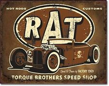 "Torque Brothers Speed Shop Rat Hot Rod V8 Muscle Car 12.5"" X16"" Metal Sign"