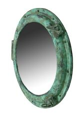 "30"" Shipwreck Finish Porthole Mirror Nautical Decor Ship Wall Mount Round Green"
